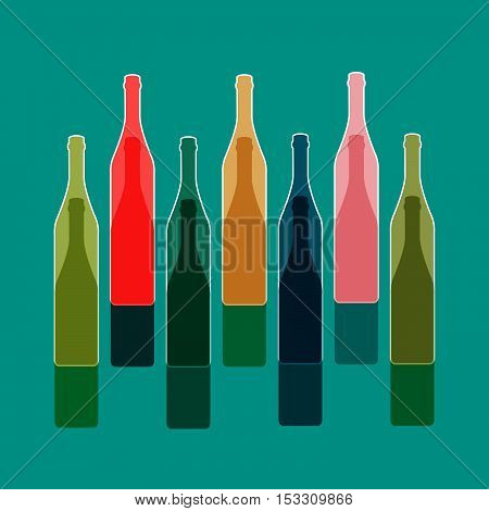 Background Bottle Vector.Alcoholic Bar Menu.Design for Party.Template for Menu Card.Wine List Placard.Suitable for Poster.Wine Art Ilustration.