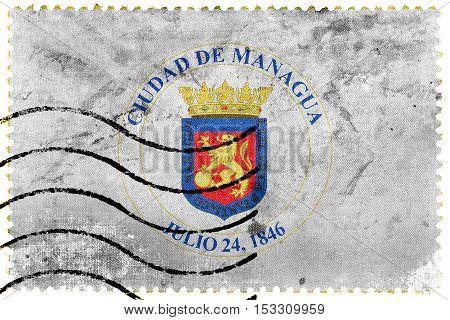 Flag Of Managua, Nicaragua, Old Postage Stamp