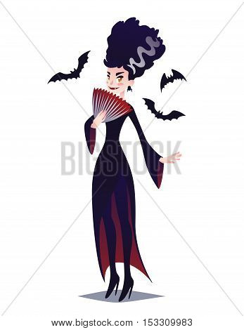 Cute Vampire lady with fan and bats. Vector illustration of Halloween Vampire girl in flat cartoon style on a white background. Element for your design, artworks, print, poster and greeting card.