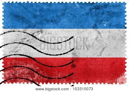 Flag Of Mannheim, Germany, Old Postage Stamp
