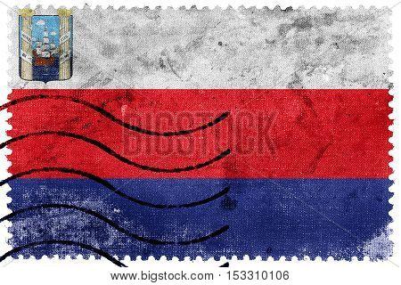 Flag Of Maracaibo, Venezuela, Old Postage Stamp