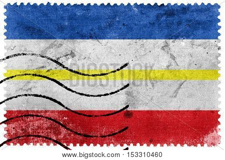Flag Of Mecklenburg-western Pomerania, Germany, Old Postage Stamp