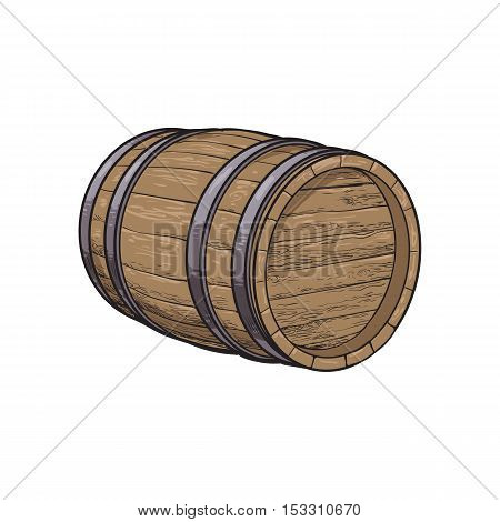 Side view of lying wooden barrel, sketch style vector illustrations isolated on white background. Wine, rum, beer classical wooden barrel, hand-drawn vector illustration, side view
