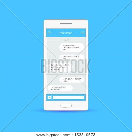 Vector application with chat boxes Messenger Duologue window