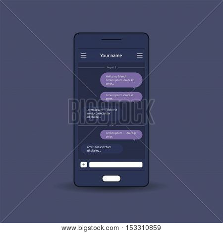 Vector application with chat boxes Messenger Message box Duologue window