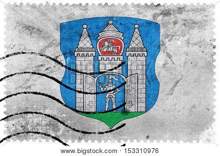 Flag Of Mogilev, Belarus, Old Postage Stamp