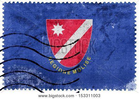 Flag Of Molise Region, Italy, Old Postage Stamp