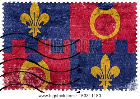 Flag Of Montgomery County, Maryland, Usa, Old Postage Stamp
