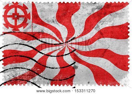 Flag Of Mulhouse, France, Old Postage Stamp
