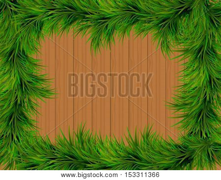 Merry Christmas and Happy New Year greeting card with Chrirstmas decor fir twigs on wooden texture