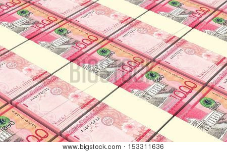 Dominican peso bills stacked background. 3D illustration.