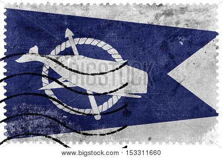 Flag Of Nantucket, Massachusetts, Usa, Old Postage Stamp