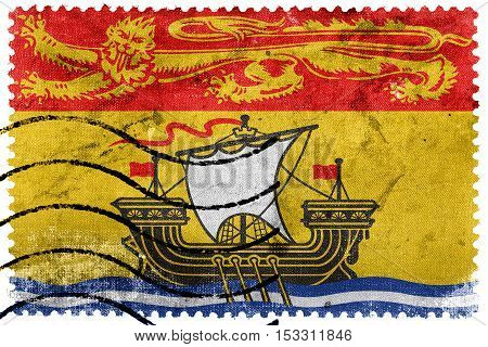 Flag Of New Brunswick Province, Canada, Old Postage Stamp