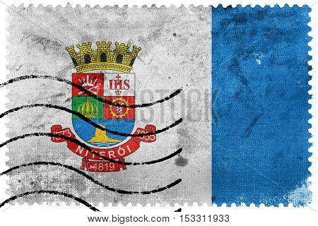 Flag Of Niteroi, Brazil, Old Postage Stamp