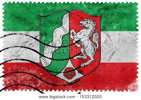 Flag Of North Rhine-westphalia With Coat Of Arms, Germany, Old Postage Stamp