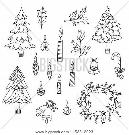 Christmas decoration set with graphic elements. Toys, candles, engraving fur-trees and bells.