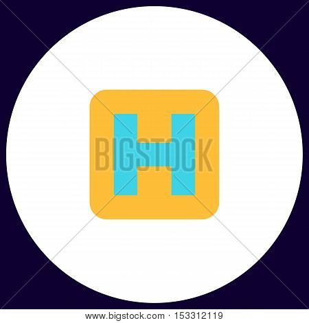 Helipad Simple vector button. Illustration symbol. Color flat icon