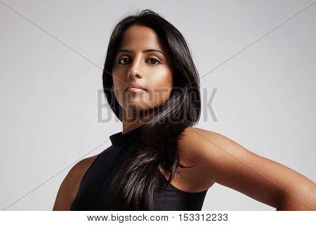 Woman With Straight Shiny Hair, Studio Shoot