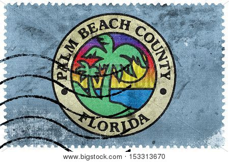Flag Of Palm Beach County, Florida, Usa, Old Postage Stamp