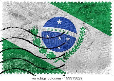 Flag Of Parana State, Brazil, Old Postage Stamp