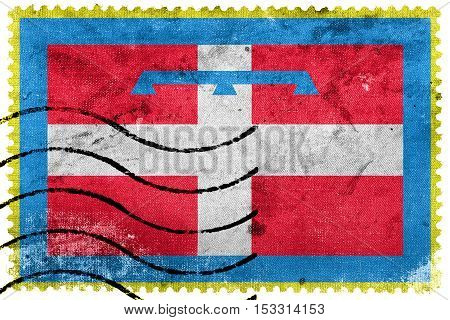 Flag Of Piedmont Region, Italy, Old Postage Stamp