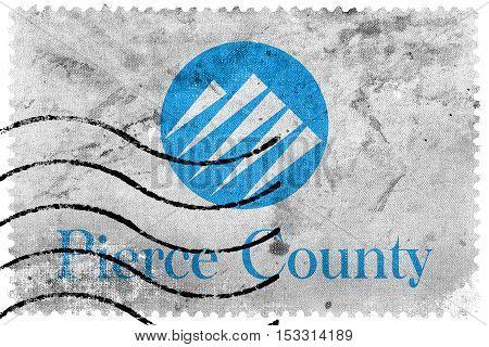 Flag Of Pierce County, Washington, Usa, Old Postage Stamp