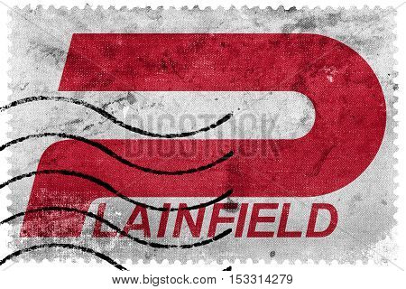 Flag Of Plainfield, Indiana, Usa, Old Postage Stamp
