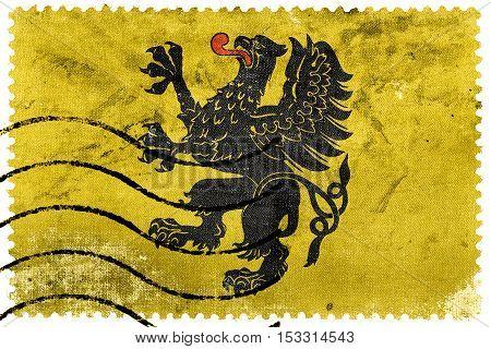Flag Of Pomeranian Voivodeship, Poland, Old Postage Stamp