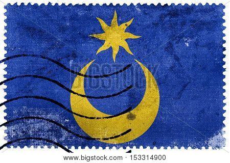 Flag Of Portsmouth, England, Uk, Old Postage Stamp