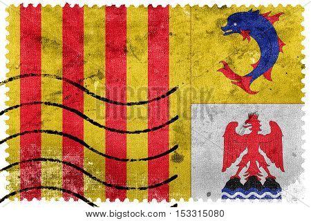 Flag Of Provence Alpes Cote D'azur, France, Old Postage Stamp