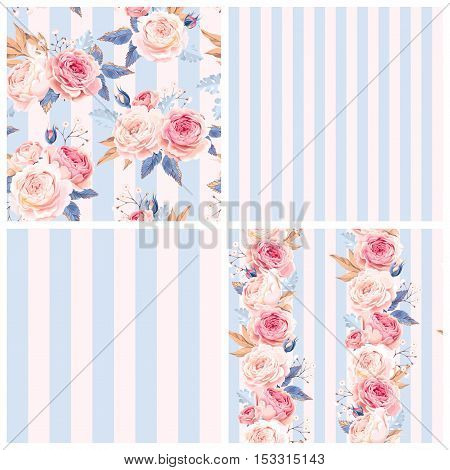 Shabby chic vector seamless patterns with english roses