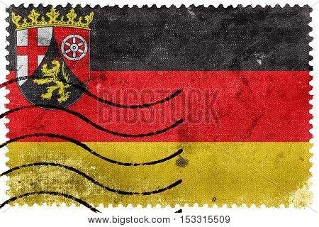 Flag Of Rhineland-palatinate, Germany, Old Postage Stamp