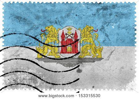 Flag Of Riga, Latvia, Old Postage Stamp