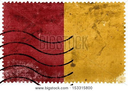Flag Of Rome, Italy, Old Postage Stamp