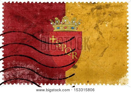 Flag Of Rome With Coat Of Arms, Italy, Old Postage Stamp