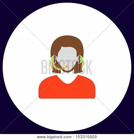 telephonist Simple vector button. Illustration symbol. Color flat icon