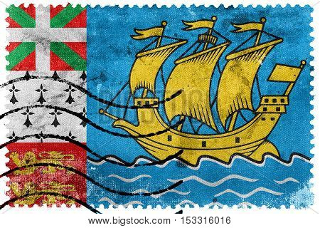 Flag Of Saint Pierre And Miquelon (unofficial), Old Postage Stamp