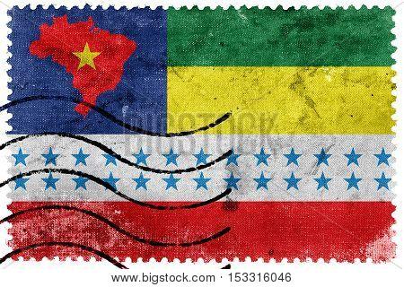 Flag Of Salesopolis, Sao Paulo, Brazil, Old Postage Stamp