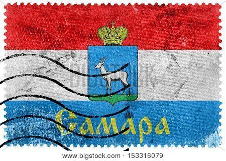 Flag Of Samara, Samara Oblast, Russia, Old Postage Stamp