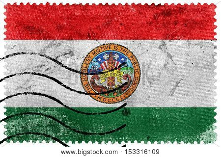Flag Of San Diego County, California, Usa, Old Postage Stamp