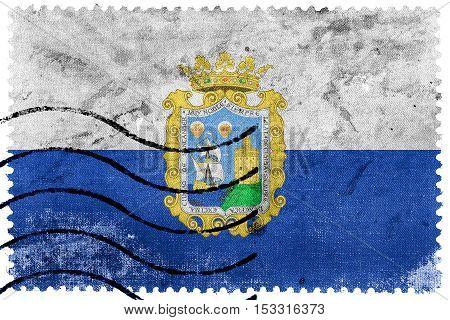 Flag Of Santander, Spain, Old Postage Stamp