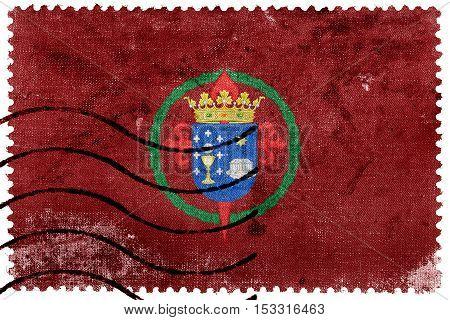 Flag Of Santiago De Compostela, Spain, Old Postage Stamp