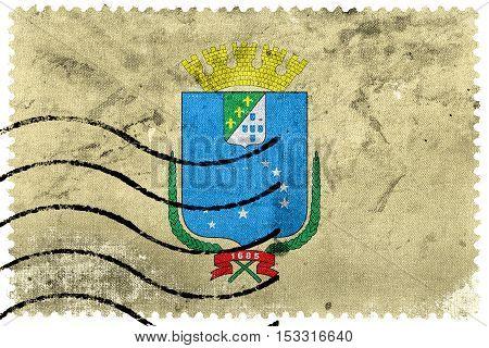 Flag Of Sao Luis, Maranhao, Brazil, Old Postage Stamp