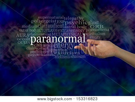 Aspect of the Paranormal Word Cloud - female hand gesturing towards the word PARANORMAL surrounded by a relevant word cloud on a dark energy formation background with copy space below