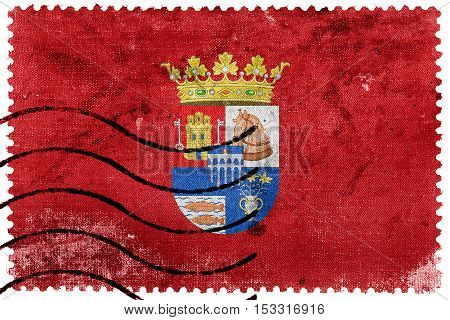 Flag Of Segovia Province, Spain, Old Postage Stamp