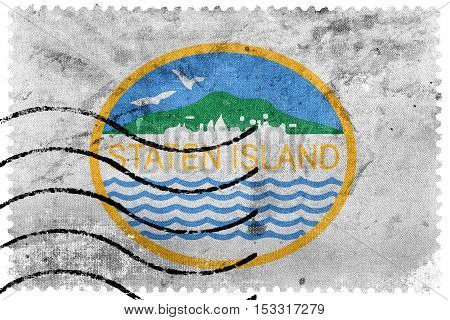 Flag Of Staten Island, New York, Usa, Old Postage Stamp