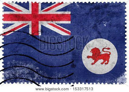 Flag Of Tasmania State, Australia, Old Postage Stamp