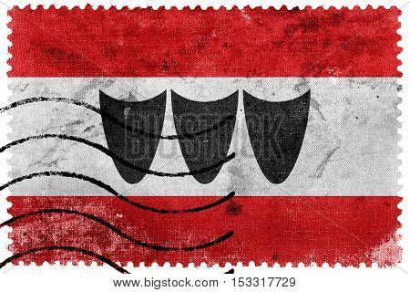 Flag Of Trebic, Czechia, Old Postage Stamp