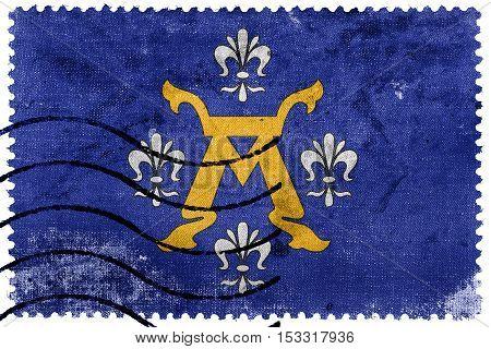 Flag Of Turku, Finland, Old Postage Stamp