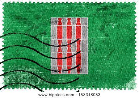 Flag Of Umbria Region, Italy, Old Postage Stamp